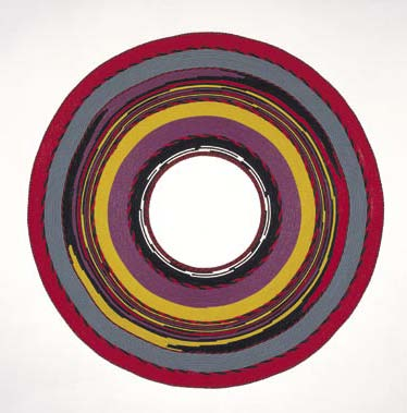 The Third Eye, 1999, painted welt, 95.5 inches diameter
